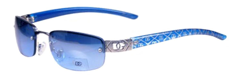 DG Eyewear Womens Small Rimless Frame Classic Shades-Blue