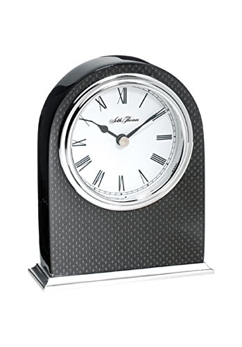 (Seth Thomas Obsidian II Black Lacquered with Black Carbon Fiber InSet Case and White Dial Arch Desk and Table Clock)