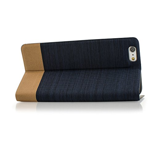 Style Apple iphone SE Case cover, Apple iPhone SE Navy Blue Twin Colour Fabric Style Wallet Case Cover