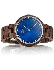 Cari Damen Frauen Holzuhr 36mm mit Schweizer Uhrwerk - Holz-Armbanduhr Kapstadt-101
