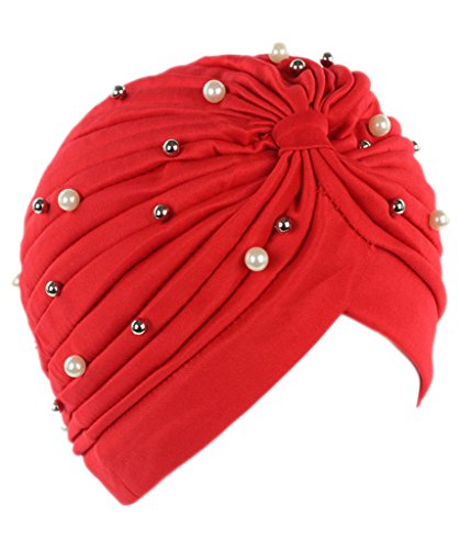 Firsthats Women's Muslim Pleated Head Wrap Knit Bonnet Turban With Pearls