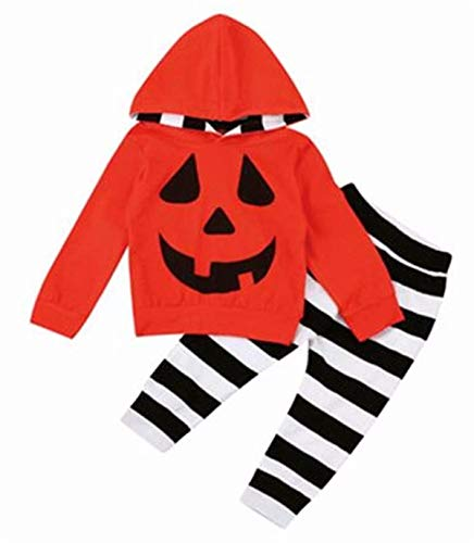 (VIWORLD Baby Girls Boys Halloween Clothes Newborn Pumpkin Hoodie Tops Long Striped Pants Outfit Set (Newborn Pumpkin Orange Hoodie, 80(6-12 Months)))