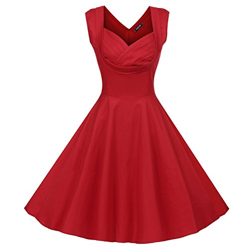 leeves Vintage Retro Swing Skater Evening Cocktail Party Swing Dress (Brenda Swing Dress)