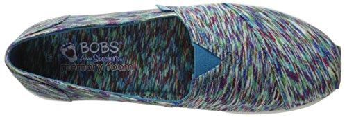 BOBS da Skechers Women's Super Peluche Flat, Blue / Multi