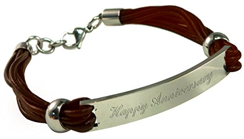 Luxury Engraved Gifts UK Men's Happy Anniversary Brown Leather & Steel Identity Id Bracelet In Gift Box BR15