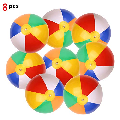 (SYSAMA Rainbow Beach Balls Inflatable Colorful Beach Ball Pool Toys Pool Balls for Kids Water Fun Play in Summer 12 Inch 8 Pcs)