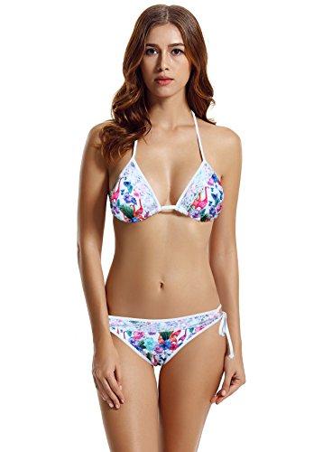 zeraca Women's Lace String Triangle Swmsuit Swimwear (XS2, Pelican) ()