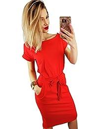 Womens Elegant Lantern Sleeve Short Sleeve Wear to Work Casual Pencil Dress Belt