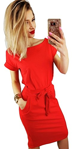 Longwu Women's Elegant Short Sleeve Wear to Work Casual Pencil Dress with Belt Orange-S