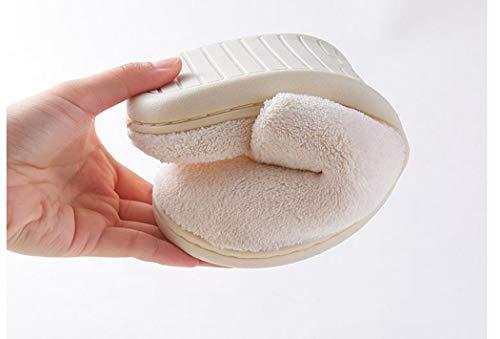 Sol Peluche Intérieur Chaussures Femmes Chaussons Chambre Beige Mignon En Maison Douce Coton Accueil Non slip Furry 8wq5vwOx