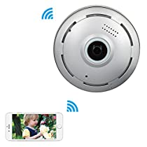 Mbangde 360° Fisheye Panoramic IP Camera, Wireless Wifi Security Camera Super Wide Angle Support IR Night Motion Detection Keep Your Pet & Home Safe, Sliver