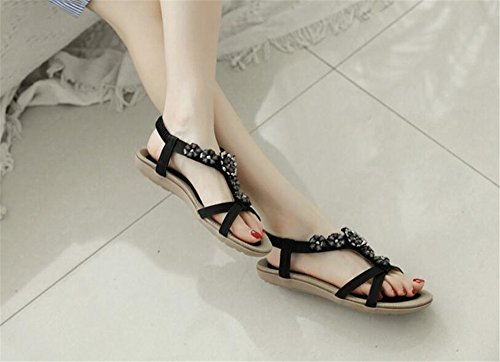 Women Slip Flip On Sandals Sandals Rhinestones Shoes Black Strap Bohemian Flat Flops Ankle Thong Braided HwFxZqHr