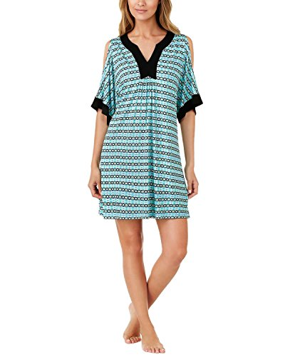ELLEN TRACY Womens Printed Cold-Shoulder Short Caftan Small S Ivory Blue