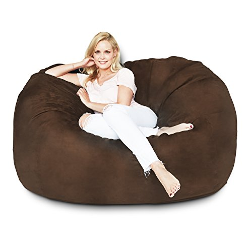 Lumaland Luxury 5-Foot Bean Bag Chair with Microsuede Cover Brown, Machine Washable Big Size Sofa and Giant Lounger Furniture for Kids, Teens and Adults (Brown Bean Bag Leather)