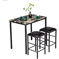 Tenozek 3 Piece Set of Table and Chair Marble Face Dining (Black)