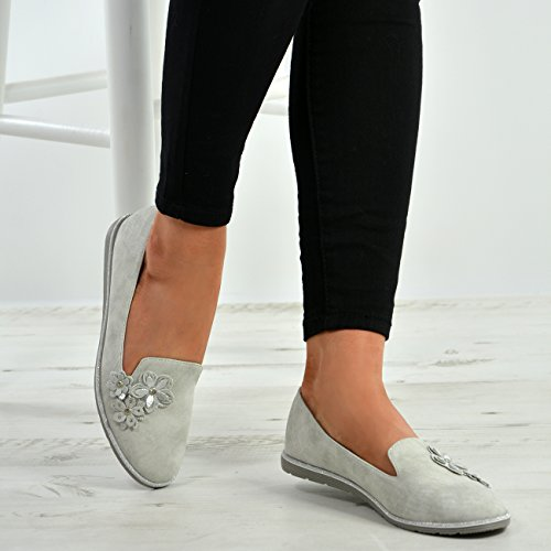 8 Court Flowers UK Fashion Silver Front Cucu Shoes Flats Womens On Slip 3 Pumps Sizes Ladies aq76wxU8