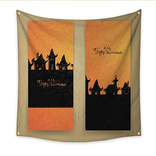 Anniutwo Decor Tapestry Vector Halloween Banners Large tablecloths Wall Tapestry 32W x 32L -