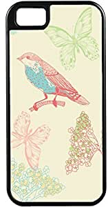 nazi diy iPhone 5 5S Cases Customized Gifts Cover Artistic bird sitting on branch with butterflies and floral background Case for iPhone 5 5S
