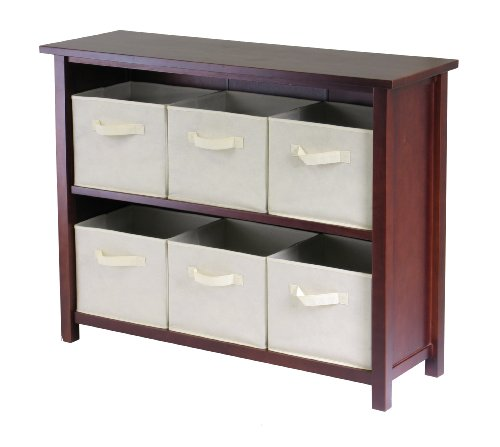 Winsome Wood Verona Wood 3 Tier Open Cabinet with 6 Beige Folding Fabric - Modular 2 Storage Shelf