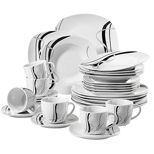 VEWEET 30-Piece Ceramic Tableware Sets Black Stripe Patterns Stoneware Plate and Bowl Set, Service for 6 (Fiona Series)