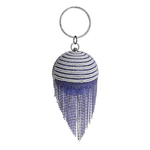 Main Clutch Forme pour en Gland Strass Sac Cristal À Blue À Sac en Bandoulière Diamond De Perles Femmes De Creuse Wedding Ball Soirée Bracelet aOFqnwC