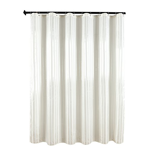 Biscaynebay Fabric Shower Curtain, Damask Stripes Waterproof Water Resistant Bathroom Curtain, 72 by 72 Inch, (Ivory Stripes Curtain)