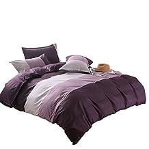 uxcell® Lightweight Microfiber Duvet Cover Sets, Printing Duvet Cover Set 3pcs Bed Sets (Double Size, Purple Stripe)