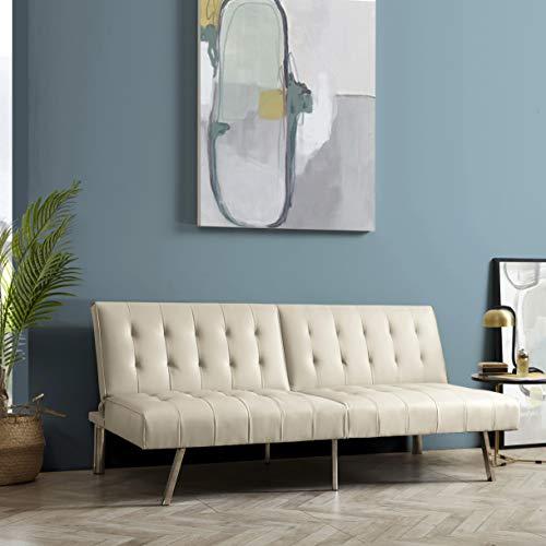 Naomi Home Tufted Split Back Futon Sofa Cream/Faux Leather ()