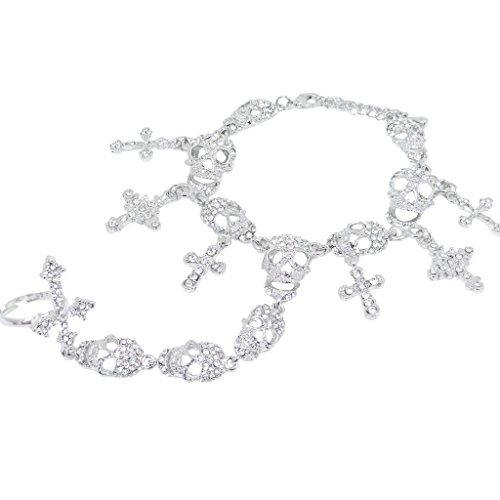 EVER FAITH Austrian Crystal Halloween Skull Cross Adjustable Ring Bracelet Set Clear (Clear Austrian Crystal Cross)