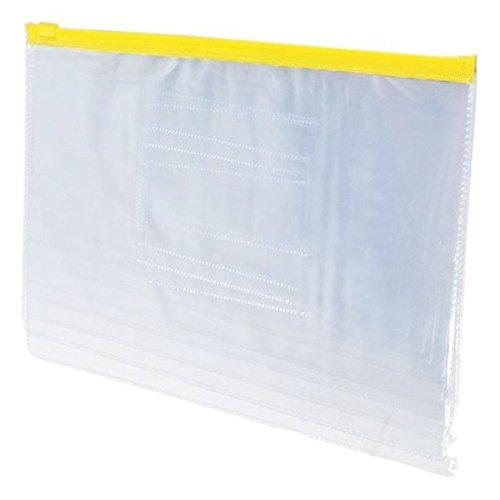 Cikuso Dimensione A5 Carta Dispositivo di scorrimento Chiusura Con Zip Cartelline PVC Cartellette Buste 20 PEZZI Giallo Trasparente