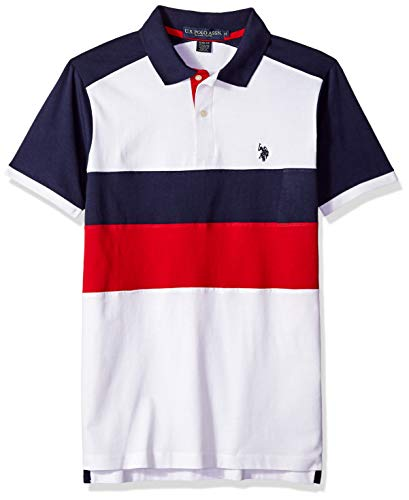 (U.S. Polo Assn. Men's Short Sleeve Classic Fit Solid Jersey Polo Shirt, White M)