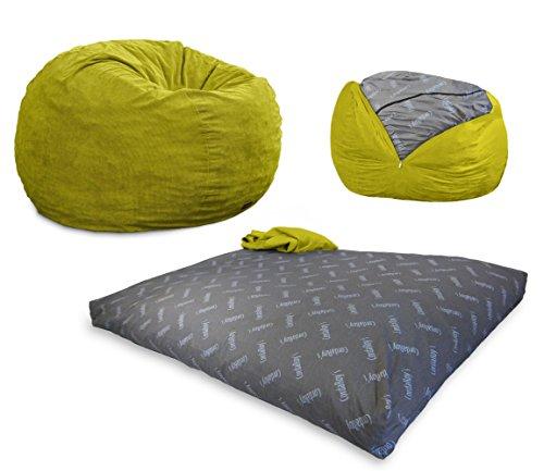 CordaRoy's - Lime Corduroy Convertible Bean Bag Chair - Full