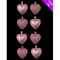 8 x 5cm BABY PINK / BLUSH PINK Glitter + Matt Heart Shaped Christmas Tree Bau... by Christmas Shop