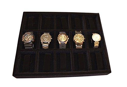 "Watch organizer drawer insert tray, wood & velvet 15""x12""x2"" MADE IN USA"