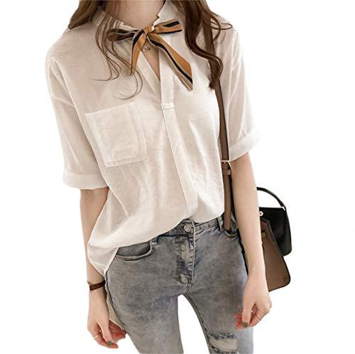 Blouse WSLCN Femme Blanc Habille d'affaires Tee Manches V Poche Courtes Souple Chemises Asymtrique Uni Col Shirt Ample Chemise Nouer rtBqwWdnt