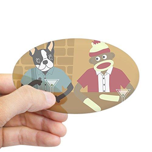CafePress Boston Terrier & Sock Monkey Oval Sticker Oval Bumper Sticker, Euro Oval Car - Dog Art Martini