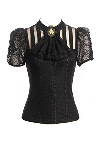 Steampunk Retro Punk Brocade Gothic Emo Womens Clothing Shopping Tee Shirt Tops, XX-Large, Black ()