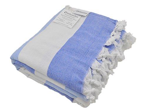 InfuseZen Large Turkish Towel with Soft Terryback, Striped Peshtemal Terry Back Turkish Bath Towel, Gym and Beach Towel, Thin Oversized Hammam Towel, Plus Size Fouta, Big Bath Sheet (Royal Blue)