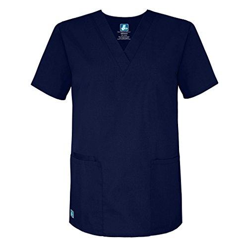 2 Medical Tunic Scrub - Adar Universal Unisex V-Neck 2 Pocket Scrub Top - 2600 - Navy - L