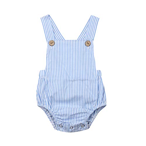 LOPJGH Newborn Baby Summer Romper Unisex Solid Color Button Jumpsuit Sleeveless Backless Overalls Outfits 1Pcs (6-12 Months, Blue Stripes)