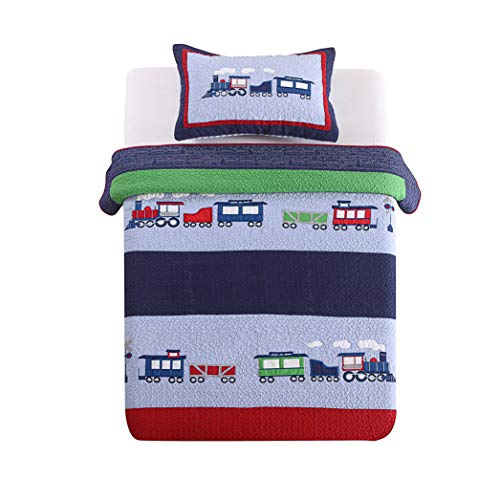 Plaid Quilt Comforter Children's Bedspread Set, Train Patchwork Pattern, Twin Size ()