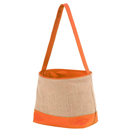 Wholesale Boutique Toy Bucket Storage Easter Halloween (14 x 8 x 6 inches, Orange Burlap) ()