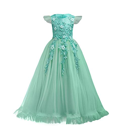 Big Little Girl Princess Embroidery Flower Lace Long A Line Pageant Dress Kids Floor Length Prom First Holy Communion Bowknot Dress Puffy Tulle Maxi Ball Gown for Wedding Party Birthday Green 11-12 ()