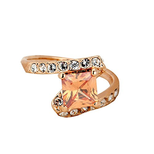Adisaer Wedding Rings for Women Rose Gold Ring Solitaire Ring 4-prong Princess Cut White Crystal Size ()