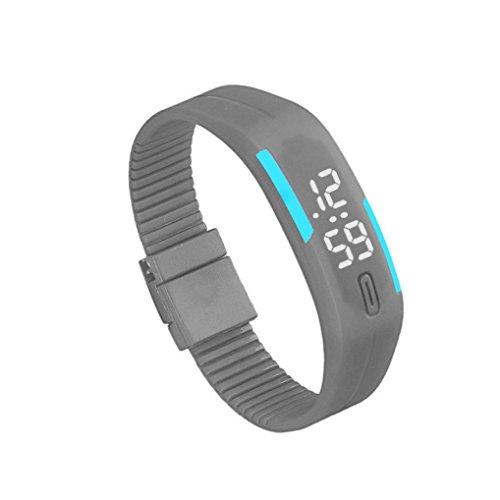 Bolayu Mens Womens Rubber LED Sports Waterproof Watch Bracelet Digital Wrist Watch Gray