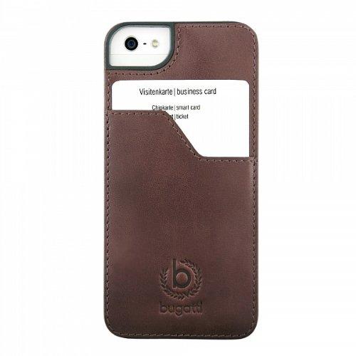 ClipOnCover (mit Visitenkartenfach) Leder Tasche Case braun von bugatti passend für Apple iPhone 5