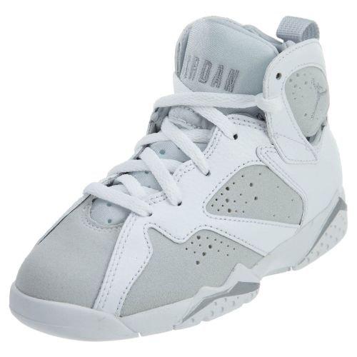 Jordan 7 Retro BP Little Kid's Shoes White/Metallic Silver 304773-120 (1 M US) by Jordan