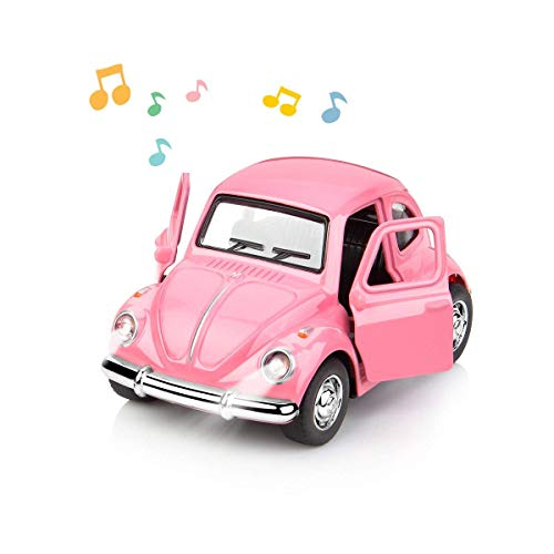GEYIIE 1:38 Diecast Car Play Vehicles Classic Diecast Model Cars Moving Toys Pull Back Action with Lights and Music Pink -