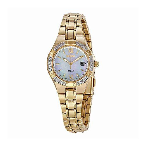 Seiko Women's SUT070 Solar-Power Gold-Tone Bracelet Watch with Diamonds