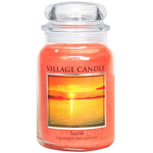 Village Candle Sunrise 26 oz Glass Jar Scented Candle, Large (Candles Sunrise Scents)